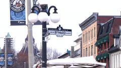 Zoom out from Ottawa's Byward Market Sign Stock Footage