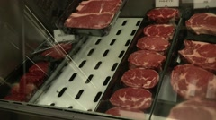 Beef Steaks on Display at Butcher Shop Stock Footage