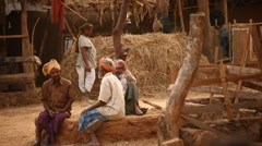 Poor people in village Rajasthan India Stock Footage