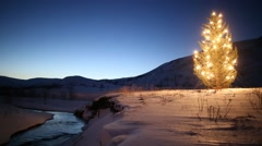 Christmas tree glowing lights by mountain stream in winter, snow and blue sky Stock Footage