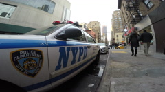 New York City Police Car Parked on the Street 4K. NYC Cop Car. Stock Footage