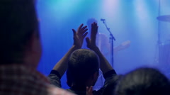 People listening and applaud rock star on concert, steadycam shot Stock Footage