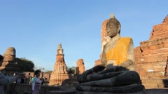 Buddha in the old city of Ayutthaya Thailand. Stock Footage
