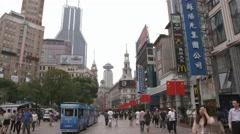 4K, UHD, Nanjing Road in Shanghai, China, BlackMagic Production Camera Stock Footage