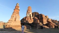 Wat Mahathat in Ayutthaya, Thailand Old Town. - stock footage