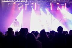 People listening an artist preparing for concert, steadycam shot - stock footage