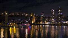 Vancouver time lapse at night. Burrard Bridge and boats. 4K. Stock Footage
