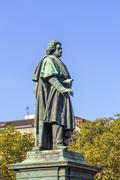 the beethoven monument on the munsterplatz in bonn - stock photo