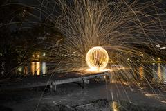 Steel Wool Spinning 30 second exposure, sphere Stock Photos