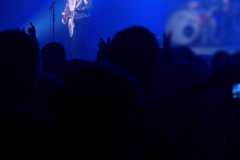 People having fun on rock concert in the club, steadycam shot Stock Footage