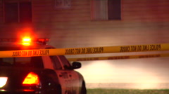 Police car lights and police tape at emergency. Stock Footage