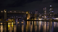 Vancouver Time Lapse at night. Burrard Bridge and Boats. Stock Footage