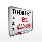 The word be accountable on to-do list whiteboard Stock Illustration
