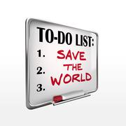Stock Illustration of save the world on to-do list whiteboard