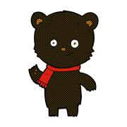 Stock Illustration of comic cartoon black bear waving