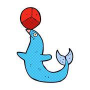 Stock Illustration of comic cartoon performing seal