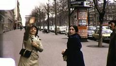 PARIS France Street Scene Waving Tourists 1970s Vintage Film Home Movie 8050 Stock Footage
