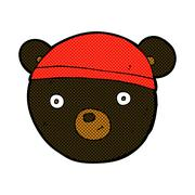 Stock Illustration of comic cartoon black bear face