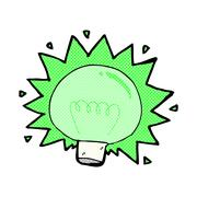 Comic cartoon flashing green light bulb Stock Illustration