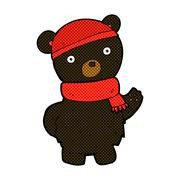 Stock Illustration of comic cartoon black bear in winter hat and scarf