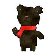 Stock Illustration of comic cartoon cute black bear cub