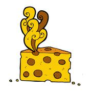 comic cartoon smelly cheese - stock illustration