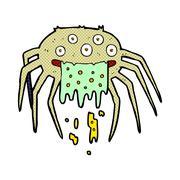 comic cartoon gross halloween spider - stock illustration