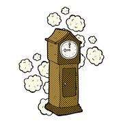 comic cartoon dusty old grandfather clock - stock illustration