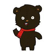 Stock Illustration of comic cartoon waving black bear cub with scarf