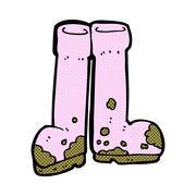 comic cartoon muddy boots - stock illustration