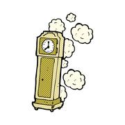 comic cartoon old grandfather clock - stock illustration