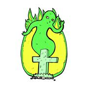 Stock Illustration of comic cartoon ghost rising from grave