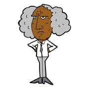 Comic cartoon big hair lecturer man Stock Illustration