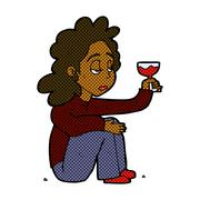 comic cartoon unhappy woman with glass of wine - stock illustration