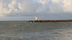 Baltic Sea lighthouse Ventspils Latvia video Stock Footage