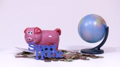 Piggy bank running world Stock Footage