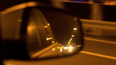 View of highway and cars in the back mirror, steadycam shot Stock Footage