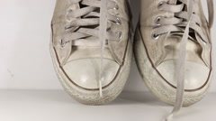 Old sport shoes Stock Footage