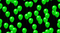 Party green balloons generated seamless loop video with alpha matte Stock Footage