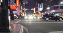 Dirty curbside on Hollywood Boulevard at night. Los Angeles, California. 4K UHD. Stock Footage