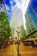London - september 28, 2013: buildings of canary wharf as seen from street le Stock Photos