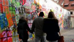 Lennon Wall with people Stock Footage