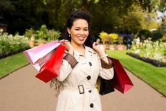 woman with shopping bags - stock photo