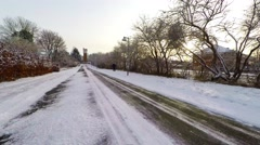 Beautiful snow scenery, icy road - stock footage