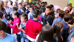 Crowd of children in the exhibition gallery - stock footage