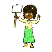 Stock Illustration of comic cartoon hippie girl with protest sign