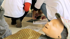 Human doll on the crime scene reconstruction Stock Footage