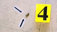 Bullet and markers on the crime scene reconstruction Stock Footage
