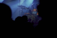 People listening man playing on percussion on a concert, steadycam shot Stock Footage