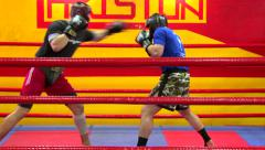 Kickbox fighters training at gym Stock Footage